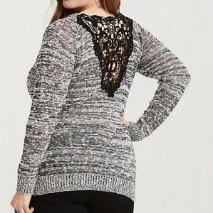 Torrid Black Lace Yoke Marled Pullover